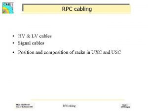 RPC cabling HV LV cables Signal cables Position