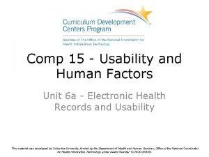 Comp 15 Usability and Human Factors Unit 6