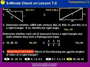 Transparency 7 3 5 Minute Check on Lesson