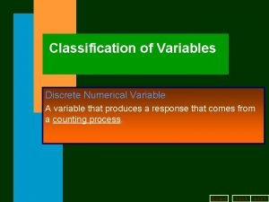 Classification of Variables Discrete Numerical Variable A variable