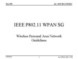 May 1998 doc IEEE 802 11 98160 r