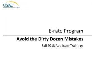 Erate Program Avoid the Dirty Dozen Mistakes Fall