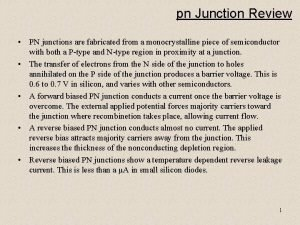 pn Junction Review PN junctions are fabricated from