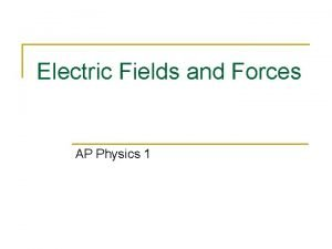 Electric Fields and Forces AP Physics 1 Electric