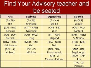 Find Your Advisory teacher and be seated Arts
