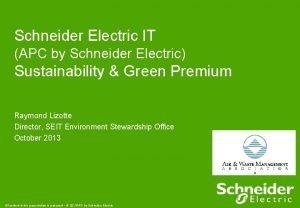 Schneider Electric IT APC by Schneider Electric Sustainability