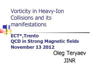 Vorticity in HeavyIon Collisions and its manifestations ECT