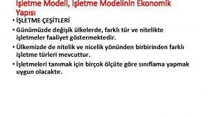 letme Modeli letme Modelinin Ekonomik Yaps LETME ETLER