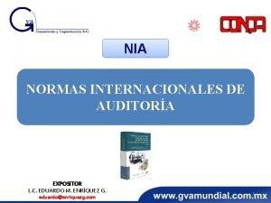 NIA NORMAS INTERNACIONALES DE AUDITORA EXPOSITOR L C