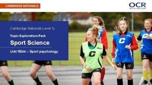 Cambridge Nationals Level Topic Exploration Pack Sport Science