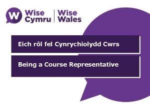 Eich rl fel Cynrychiolydd Cwrs Being a Course