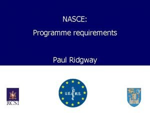 NASCE Programme requirements Paul Ridgway Need for NASCE