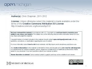 Authors Chris Chapman 2011 2012 License Unless otherwise