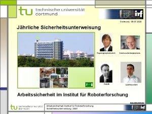 Dortmund 08 07 2020 Jhrliche Sicherheitsunterweisung Regelungssystemtechnik Robotik