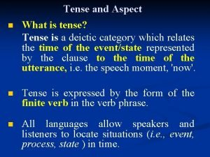 n Tense and Aspect What is tense Tense