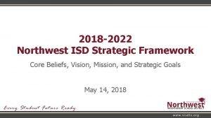 2018 2022 Northwest ISD Strategic Framework Core Beliefs