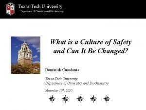 Texas Tech University Department of Chemistry and Biochemistry