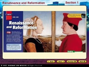 Renaissance and Reformation Section 1 Renaissance and Reformation