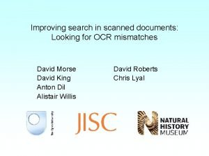 Improving search in scanned documents Looking for OCR
