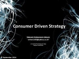 Consumer Driven Strategy TRIHADI PUDIAWAN ERHAN erhan 1202yahoo
