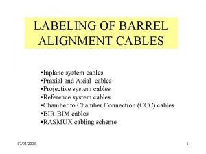 LABELING OF BARREL ALIGNMENT CABLES Inplane system cables