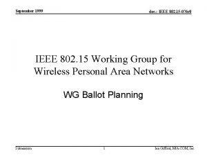 September 1999 doc IEEE 802 15 076 r