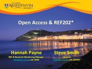 Open Access REF 202 Hannah Payne REF Research