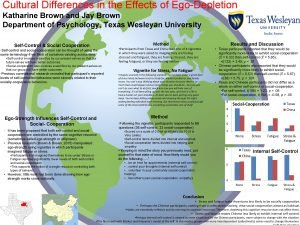Cultural Differences in the Effects of EgoDepletion Katharine