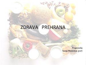 ZDRAVA PREHRANA Pripremila Sonja Manestar prof PIRAMIDA ZDRAVE