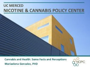 UC MERCED NICOTINE CANNABIS POLICY CENTER Cannabis and