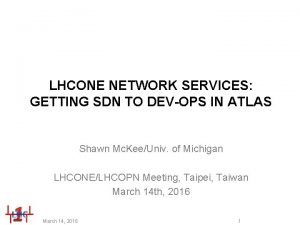 LHCONE NETWORK SERVICES GETTING SDN TO DEVOPS IN