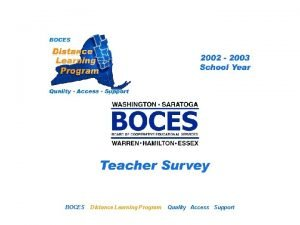 SAN Distance Learning Project BOCES Teacher Survey Distance