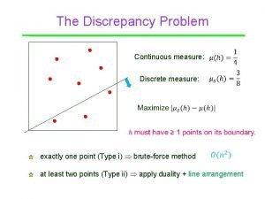 The Discrepancy Problem Point Continuous measure Discrete measure