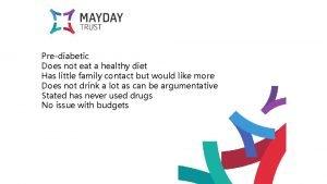 Prediabetic Does not eat a healthy diet Has