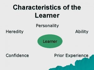 Characteristics of the Learner Personality Heredity Ability Learner