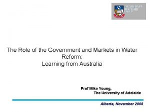 The Role of the Government and Markets in