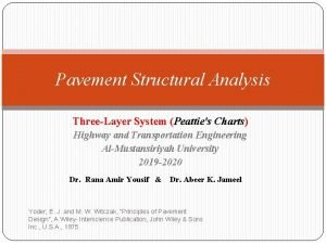 Pavement Structural Analysis ThreeLayer System Peatties Charts Highway