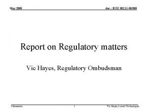 May 2000 doc IEEE 802 11 00080 Report
