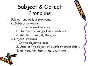 Subject Object Pronouns Subject and object pronouns A