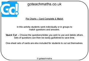 Pie Charts Card Complete Match In this activity