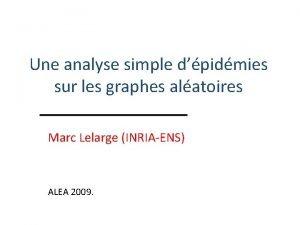 Une analyse simple dpidmies sur les graphes alatoires
