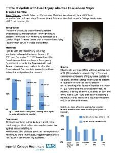Profile of cyclists with Head Injury admitted to