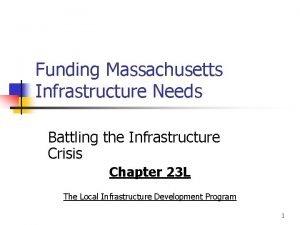Funding Massachusetts Infrastructure Needs Battling the Infrastructure Crisis