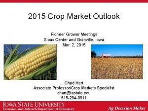 2015 Crop Market Outlook Pioneer Grower Meetings Sioux