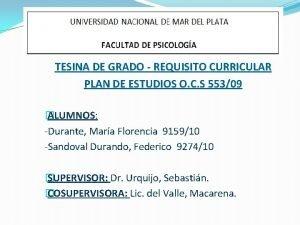 TESINA DE GRADO REQUISITO CURRICULAR PLAN DE ESTUDIOS