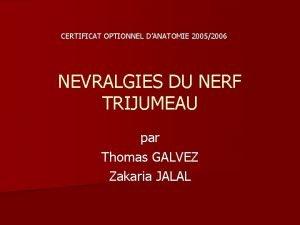 CERTIFICAT OPTIONNEL DANATOMIE 20052006 NEVRALGIES DU NERF TRIJUMEAU