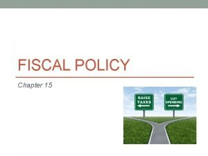FISCAL POLICY Chapter 15 What is Fiscal Policy