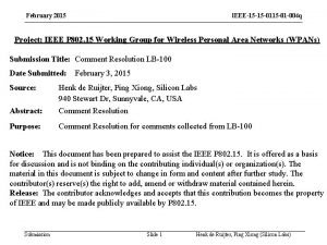 February 2015 IEEE15 15 01 004 q Project