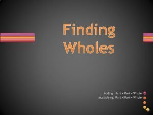 Finding Wholes Adding Part Part Whole Multiplying Part