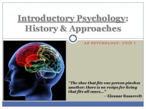 Introductory Psychology History Approaches AP PSYCHOLOGY UNIT I